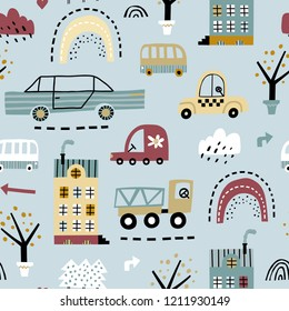 Childish seamless pattern with buildings, road, transport, abstract trees. Vector texture in childish style great for fabric and textile, wallpapers, backgrounds. Creative city childish texture.