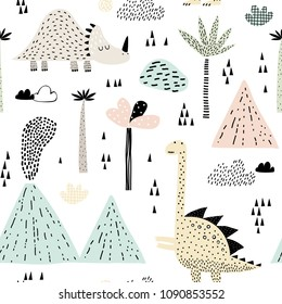 Childish seamless pattern with bungalow, volcano, dinosaurs and tropical plants. Vector texture in childish style great for fabric and textile, wallpapers, backgrounds. Scandinavian style.