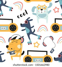 Childish seamless pattern with cool dogs and music theme in Scandinavian style. Vector Illustration. Kids illustration for nursery design. Great for baby clothes, greeting card, wrapping paper.