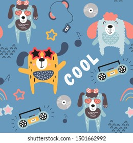 Childish seamless pattern with cool dogs and music theme in Scandinavian style. Vector Illustration. Kids illustration for nursery art. Great for baby clothes, greeting card, wrapping paper.