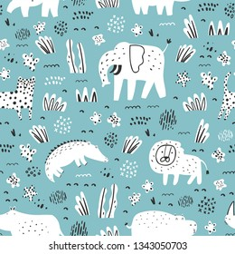 Childish seamless pattern with cute animals and tropical plants. Vector texture in childish style great for fabric and textile, wallpapers, backgrounds.