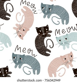 Childish seamless pattern with cute artistic cats. Trendy scandinavian vector background. Perfect for kids apparel,fabric, textile, nursery decoration,wrapping paper
