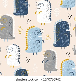 Childish seamless pattern with cute baby dinozaurs and hand drawn shapes in scandinavian style. Creative vector childish background for fabric, textile