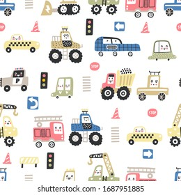 Childish seamless pattern with cute cars. Cartoon cars, road sign, zebra crossing vector illustration.