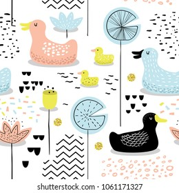 Childish Seamless Pattern with Cute Ducks. Baby Background with Birds for Decoration, Wallpaper, Fabric. Vector illustration