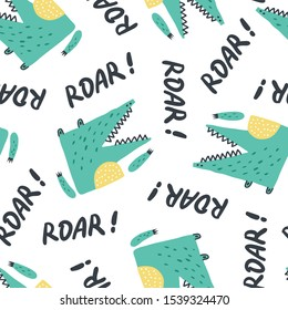 Childish seamless pattern with cute growling alligator.