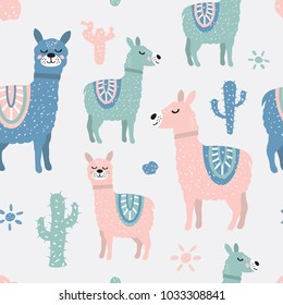 Childish seamless pattern with cute llama and cactus. Creative texture for fabric, textile