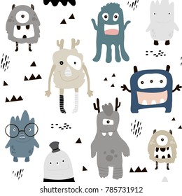 Childish seamless pattern with cute monsters. Vector texture for kids apparel, fabric, textile, wrapping