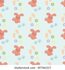 Childish seamless pattern with cute rabbits. Background for gift wrapping. Decoration fabric. Wallpaper design. Stylish beautiful baby seamless pattern. Vector