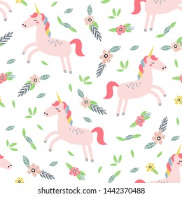 Childish seamless pattern with cute unicorn. Creative vector childish background for fabric, textile