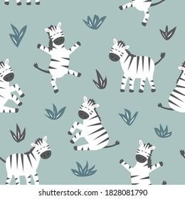 Kindernahtloses Muster mit süßem Zebra. Kreative Textur für Gewebe und Textilien.
