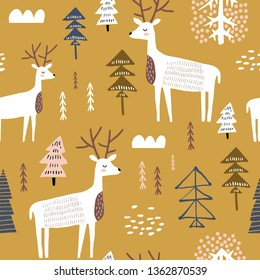 Childish seamless pattern with deers. Trendy scandinavian holiday vector background. Perfect for kids apparel,fabric, textile, nursery decoration,wrapping paper