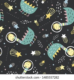Childish seamless pattern with dinosaurs in space. Hand drawn overlapping background for your design. Vector childish background for fabric, textile, nursery wallpaper.
