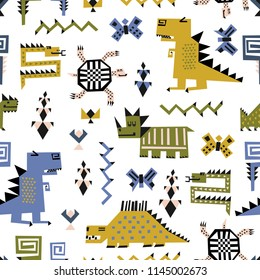 Childish seamless pattern with dinosaurs and tropical plants. Vector texture in childish style great for fabric and textile, wallpapers, backgrounds. Scandinavian style.