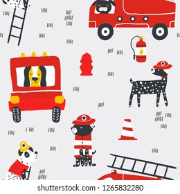 Childish seamless pattern with fire dogs . Trendy scandinavian vector background. Perfect for kids apparel,fabric, textile, nursery decoration,wrapping paper