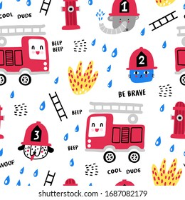 Childish seamless pattern with fire, fire truck and cute fire amimals . Perfect for kids apparel, fabric, textile, nursery decoration,wrapping paper. Trendy vector background.