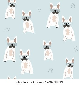 Childish seamless pattern with french bulldog puppy. Trendy cute animal vector background. Perfect for kids apparel,fabric, textile, nursery decoration,wrapping paper