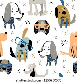 Childish seamless pattern with funny creative dogs. Trendy scandinavian vector background. Perfect for kids apparel,fabric, textile, nursery decoration,wrapping paper