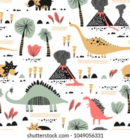 Childish seamless pattern with funny dinosaurs in cartoon. Ideal for cards, invitations, party, banners, kindergarten, baby shower, preschool and children room decoration. Scandinavian style.