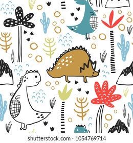 Childish seamless pattern with hand drawn dino, palm trees and dhand drawn shapes in scandinavian style. Creative vector childish background for fabric, textile