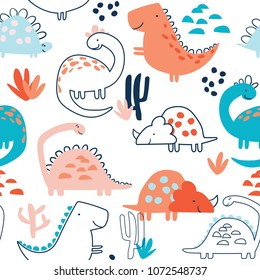 Childish seamless pattern with hand drawn dino in doodle style. Perfect for kids fabric, textile, nursery wallpaper.