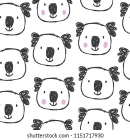 Childish seamless pattern with hand drawn coalas. Trendy scandinavian vector background. Perfect for kids apparel,fabric, textile, nursery decoration,wrapping paper