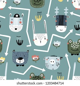 Childish seamless pattern with hand drawn animals. Trendy scandinavian vector background. Vector texture in childish style great for fabric and textile, wallpapers, backgrounds.