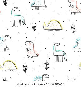 Childish seamless pattern with hand drawn dino in scandinavian style. Creative vector childish background for fabric, textile, wallpaper.