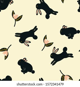 Childish seamless pattern with hand drawn rabbit and floral elements. creative nursery designs for kids room, fabric, wrapping, wallpaper, textile, apparel. vector illustration