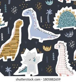 Childish seamless pattern with hand drawn funny dinosaurs. Creative vector childish background for fabric, textile
