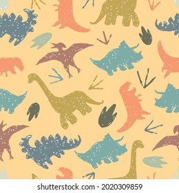 Childish seamless pattern with hand drawn dino, Vector print with cartoon dinosaurs, Dinosaurs pattern for boy, Cute pattern for kids in grunge style.