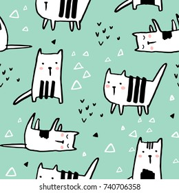 Childish seamless pattern with hand drawn cats. Trendy scandinavian vector background. Perfect for kids apparel,fabric, textile, nursery decoration,wrapping paper