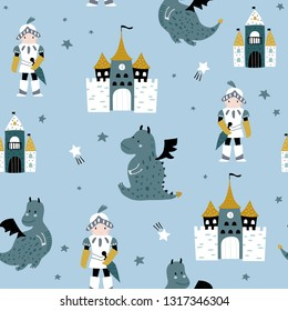 Childish seamless pattern with knight, dragon and castle in scandinavian style. Creative vector childish background for fabric, textile