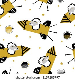 Childish seamless pattern with lama on a rocket in space. Vector texture in childish style great for fabric and textile, wallpapers, backgrounds. Creative space childish texture.