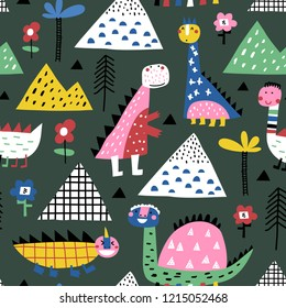 Childish seamless pattern with mountains, dinosaurs and tropical plants. Vector texture in childish style great for fabric and textile, wallpapers, backgrounds. Scandinavian style.