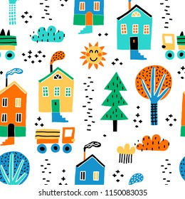 Childish seamless pattern with old buildings, cars, and trees. Good for kids fabric, textile, nursery wallpaper. Seamless city landscape. Scandinavian style