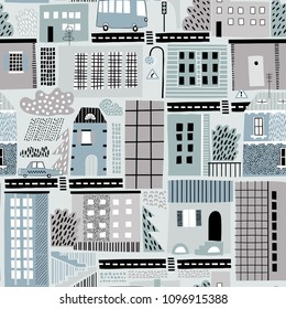 Childish seamless pattern with old and modern buildings, roads, transport, abstract shapes and textures. Good for kids fabric, textile, nursery wallpaper. Seamless city landscape. Scandinavian style