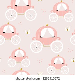 Childish seamless pattern with pink carriage in scandinavian style. Creative vector childish background for fabric, textile