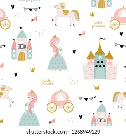 Childish seamless pattern with princess, castle, carriage in scandinavian style. Creative vector childish background for fabric, textile
