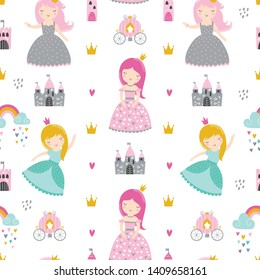 Childish seamless pattern with princess, castle, carriage. Creative vector childish background for fabric, textile.