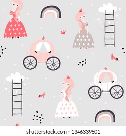 Childish seamless pattern with princess, rainbow, carriage in scandinavian style. Creative vector childish background for fabric, textile