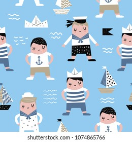 Childish Seamless Pattern with Sailor Boy. Children Marine Background with Boats for Fabric, Print, Wrapping, Wallpaper. Vector illustration