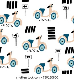 Childish seamless pattern scooter on road. Creative design with scooter for nursery,apparel,fabric,textile. Vector Illustration
