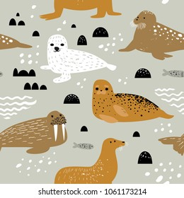 Childish Seamless Pattern with Seal and Walrus. Cute Background with Abstract Elements. Baby Oceanic Doodle for Fabric Textile, Wallpaper, Wrapping. Vector illustration