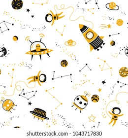 Childish seamless pattern - space, spaceships and planets with stars. Trendy kids vector background.