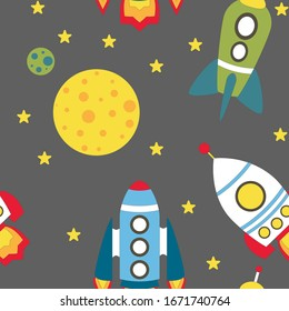Childish seamless pattern with spaceship and stars