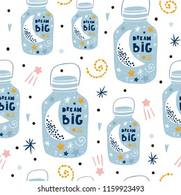 Childish seamless pattern with starry sky, moon, constellations in jar. Creative kids texture for fabric, wrapping, textile, wallpaper, apparel. Vector illustration