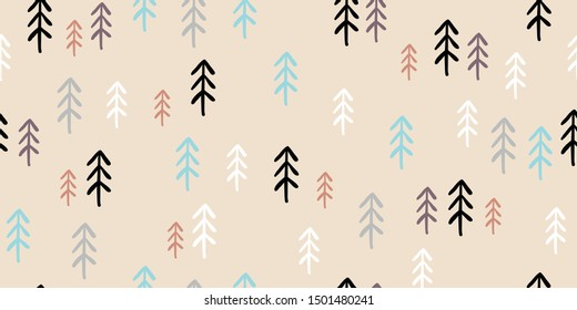 Childish seamless pattern with stylized christmas forest of pine trees. Trendy scandinavian holiday vector background. Perfect for kids apparel, fabric, textile, nursery decoration. Kids pattern