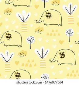 Childish seamless pattern with tropical forest and elephant. Perfect for kids fabric, textile, nursery wallpaper. Pink background. Yellow background.