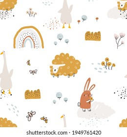 Childish seamless pattern vector illustration with rabbit, lamb, goose, rainbow, flying insects, plants on white background. Farm animals pattern for fabric, nursery room decoration, wrapping paper.